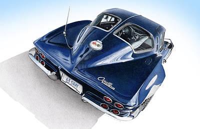 Automotive Drawing - 1963 Corvette Stingray by James Robert