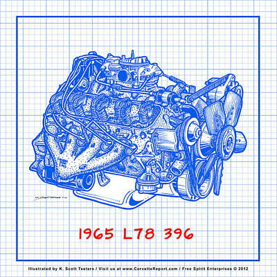 Drawing - 1965 L78 396 Big-block Corvette Engine Blueprint by K Scott Teeters