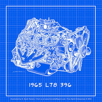 Drawing - 1965 L78 396 Big-block Corvette Engine Reverse Blueprint by K Scott Teeters
