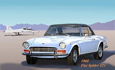 1968 Fiat Spider 124 Art Print by Robert Bissett