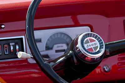 Photograph - 1968 Kaiser Jeepster Sport Convertible 400 Turbo Steering Wheel Emblerm by Jill Reger