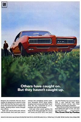 Racetrack Digital Art - 1968 Pontiac Gto by Digital Repro Depot