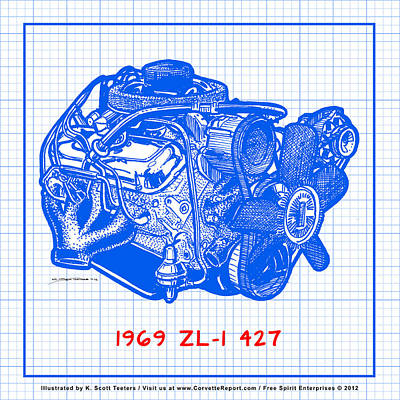 Drawing - 1969 427 Zl-1 Corvette Racing Engine Blueprint by K Scott Teeters