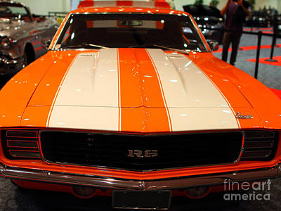 1969 Chevrolet Camaro 350 Rs . Orange With Racing Stripes . 7d9428 Art Print by Wingsdomain Art and Photography