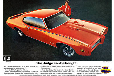 Racetrack Digital Art - 1969 Pontiac Gto The Judge Can Be Bought by Digital Repro Depot