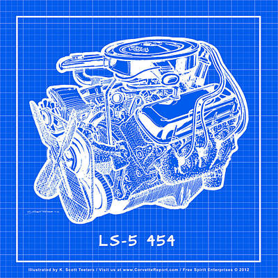 Drawing - 1970 Ls5 454 Big-block Corvette Engine Reverse Blueprint by K Scott Teeters