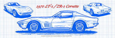1970 Lt-1 And Zr-1 Corvette Blueprint Art Print