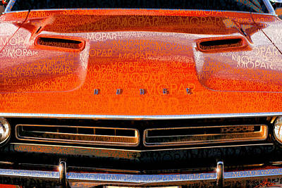 Global Design Shibori Inspired - 1971 Dodge Challenger - Orange Mopar Typography - MP002 by Gordon Dean II