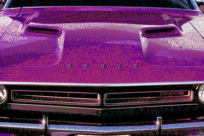 Challenger Digital Art - 1971 Dodge Challenger - Purple Mopar Typography by Gordon Dean II