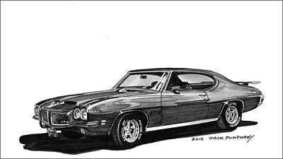 Cars From The 30s Painting - 1971 Pontiac Gto by Jack Pumphrey