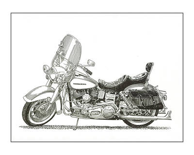 Drawing - 1976 Harley Davidson Fln by Jack Pumphrey