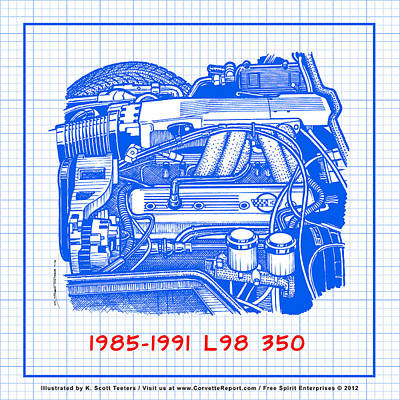 Drawing - 1985 - 1991 L98 Fuel-injected Corvette Engine Blueprint by K Scott Teeters