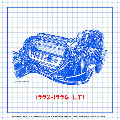 Drawing - 1992-1996 Lt1 Corvette Engine Blueprint by K Scott Teeters