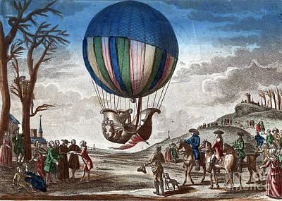 1st Manned Hydrogen Balloon Flight, 1783 Art Print by Photo Researchers