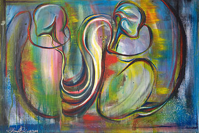 Painting - 2 Snails And 3 Elephants by Sheridan Furrer