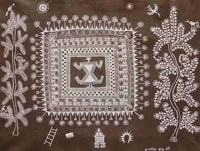 Indian Tribal Art Painting - Abm 04 by Anitha Balu Mashe