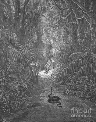Adam And Eve And Snake By Dore Print by Photo Researchers