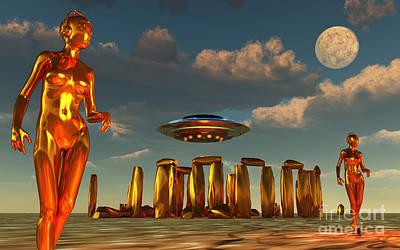 Alien Interdimensional Beings Recharge Art Print by Mark Stevenson