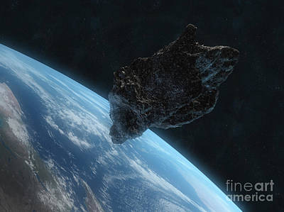 Asteroid In Front Of The Earth Art Print
