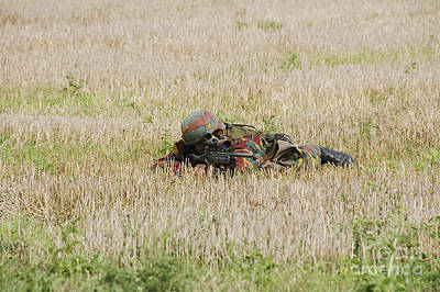 Belgian Paratroopers On Guard Art Print by Luc De Jaeger