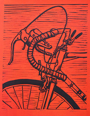 Linoluem Drawing - Bike 2 by William Cauthern