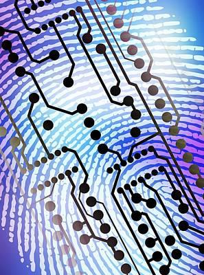 Biometric Fingerprint Scan Art Print by Pasieka