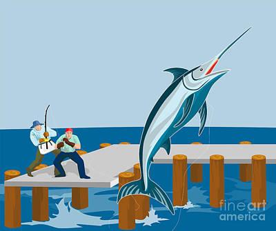 Pier Digital Art - Blue Marlin Fish Jumping Retro by Aloysius Patrimonio