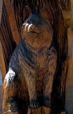 Cat Wood Carving Photograph - Bobcat by LeeAnn McLaneGoetz McLaneGoetzStudioLLCcom