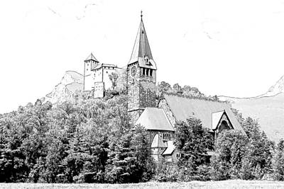 Burg Gutenberg And Church Balzers Liechtenstein  Art Print by Joseph Hendrix