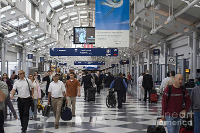 Rolling Luggage Photograph - Busy Airport Terminal Concourse At Chicago's O'hare Airport by Christopher Purcell