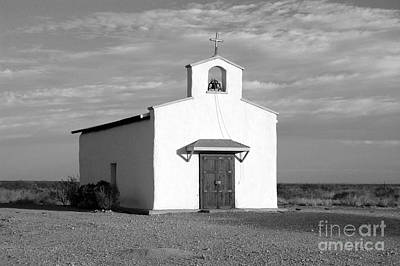 Black And White Photograph - Calera Mission Chapel In West Texas Black And White by Shawn O'Brien