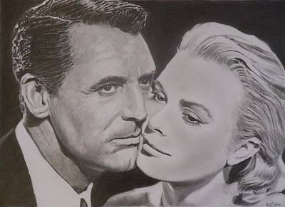 Grace Kelly Drawing - Cary Grant And Grace Kelly by Mike OConnell