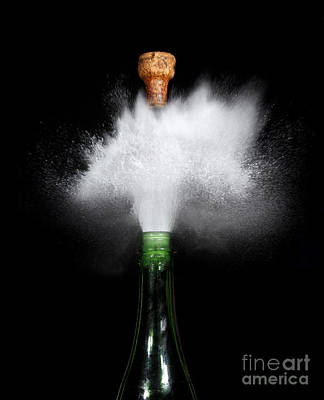 Champagne Cork Popping Print by Ted Kinsman