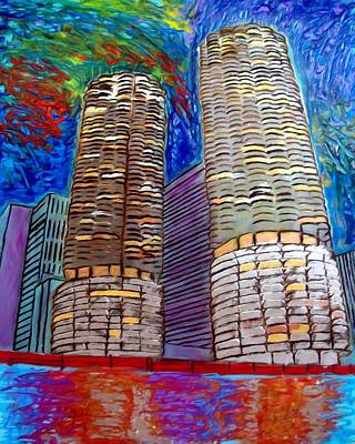 Loop Painting - Chicago Marina Towers by Char Swift