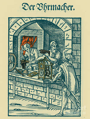 Clockmaker, Medieval Tradesman Art Print by Science Source