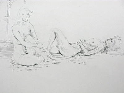 Art Print featuring the drawing 2 Close Friends by Brian Sereda