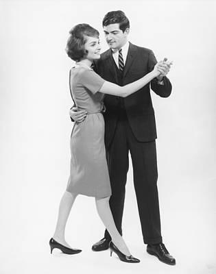 Couple Dancing In Studio, (b&w) Art Print by George Marks