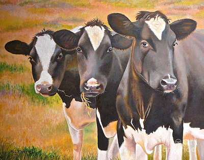 Art Print featuring the painting Curious Trio by K L Kingston
