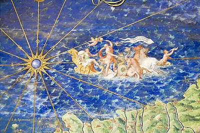 Of Sea Creatures Photograph - Detail Of 16th Century Map Of Liguria by Sheila Terry