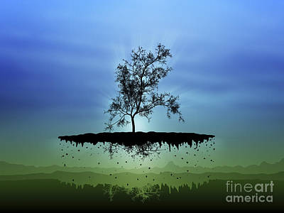 Tree Roots Digital Art - Digitally Generated Image Of A Flying by Vlad Gerasimov