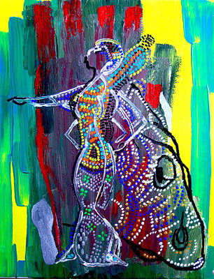 African Traditional Dances Painting - Dinka Lady - South Sudan by Gloria Ssali