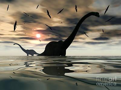 Diplodocus Digital Art - Diplodocus Dinosaurs Bathe In A Large by Mark Stevenson
