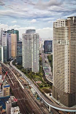 Traffic Congestion Photograph - Downtown Tokyo Skyline Viewed by Bryan Mullennix