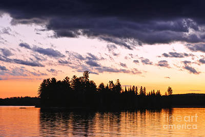 Canada Photograph - Dramatic Sunset At Lake by Elena Elisseeva