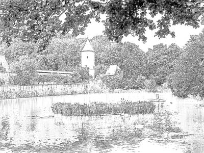 Duck Pond Dinkelsbuhl Germany Art Print by Joseph Hendrix