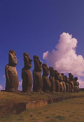 Megalith Photograph - Easter Island Statues by David Nunuk