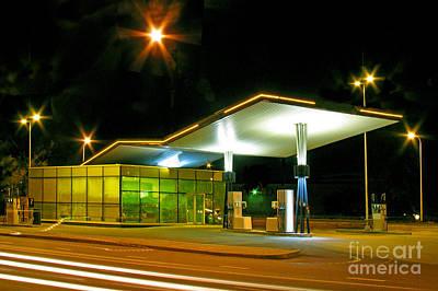 Gas Lamp Photograph - Estonian Gas Station At Night by Jaak Nilson