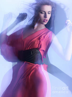 Fashion Photo Of A Woman In Shining Blue Settings Art Print by Oleksiy Maksymenko