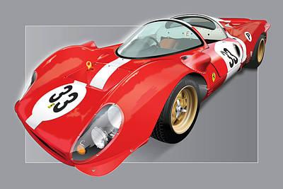 Vintage Auto Digital Art - Ferrari 330 P4 by Alain Jamar