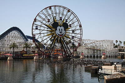Ferris Wheel And Roller Coaster - Paradise Pier - Disney California Adventure - Anaheim California - Art Print by Wingsdomain Art and Photography